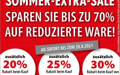 Sommer-Extra-Sale bis 28. August 2021